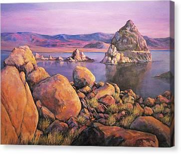 Morning Colors At Lake Pyramid Canvas Print by Donna Tucker