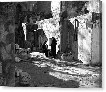 Morning Conversation In Bw Canvas Print