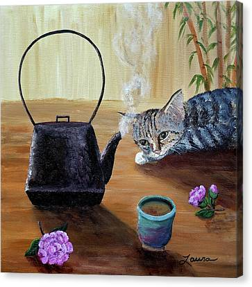 Morning Cup Of Tea Canvas Print by Laura Iverson