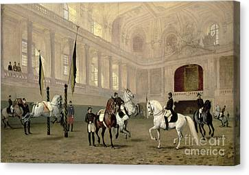Jumping Horse Canvas Print - Morning Exercise In The Hofreitschule by Julius von Blaas
