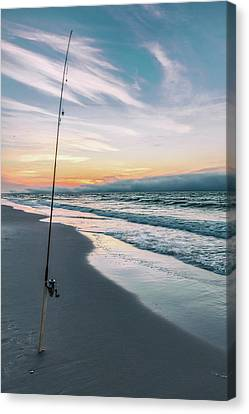 Canvas Print featuring the photograph Morning Fishing At The Beach  by John McGraw