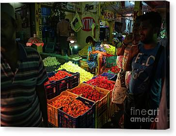 Canvas Print featuring the photograph Morning Flower Market Colors by Mike Reid