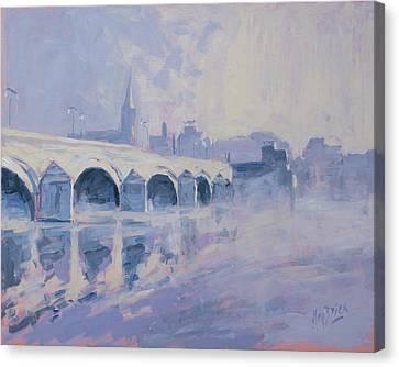 Morning Fog Around The Old Bridge Canvas Print by Nop Briex