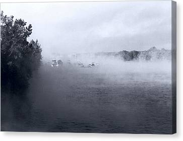 Canvas Print featuring the photograph Morning Fog - Hudson River by John Schneider