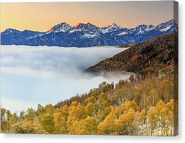 Morning Fog In The Southern Wasatch. Canvas Print by Johnny Adolphson