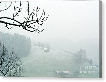 Morning Fog - Winter In Switzerland Canvas Print