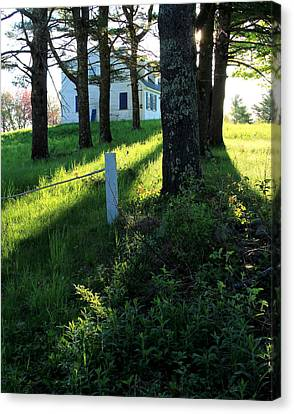 Maine Farmhouse Canvas Print - Morning Glory by Laurie Breton