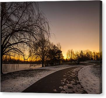 Canvas Print featuring the photograph Morning Glow Along Hoyt Lake by Chris Bordeleau