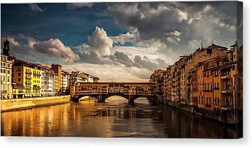 Canvas Print featuring the photograph Morning Glow On Ponte Vecchio by Andrew Soundarajan