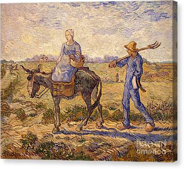 Morning Going Out To Work Canvas Print by Vincent Van Gogh