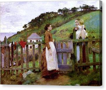 Canvas Print featuring the painting Morning Gossip by Henry Scott Tuke