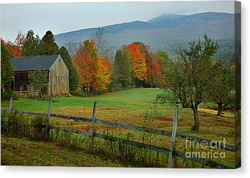 Morning Grove - New England Fall Monadnock Farm Canvas Print by Jon Holiday