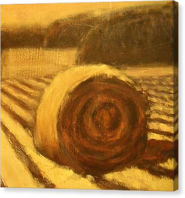 Morning Haybale Canvas Print