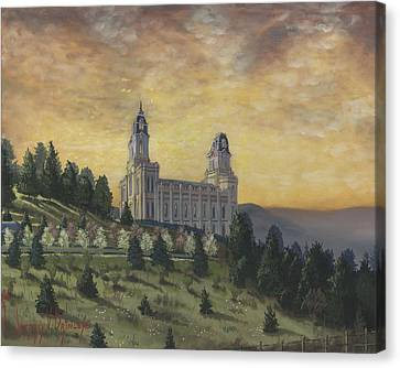 Morning He Came Again Into The Temple Canvas Print by Jeff Brimley