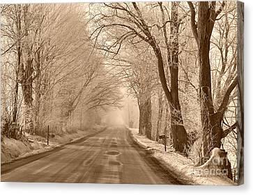 Morning Ice And Fog Canvas Print by Deborah Benoit