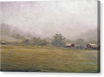 Canvas Print featuring the painting Morning In Georgia by Andrew King