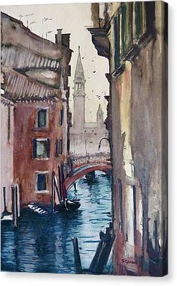 Canvas Print featuring the painting Morning In Venice by Geni Gorani