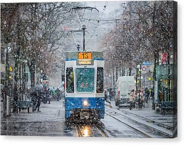 Morning In Zurich Canvas Print by Attila Szabo