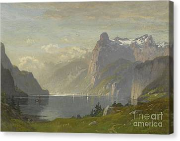 Morning Lake Lucerne Canvas Print by Celestial Images