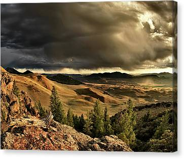 Sun Rays Canvas Print - Morning Light And Thunder Shower by Leland D Howard