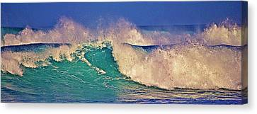 Morning Light On Breaking Waves Canvas Print