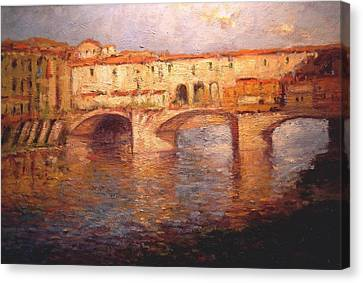 Morning Light On The Ponte Vecchio Bridge Canvas Print by R W Goetting