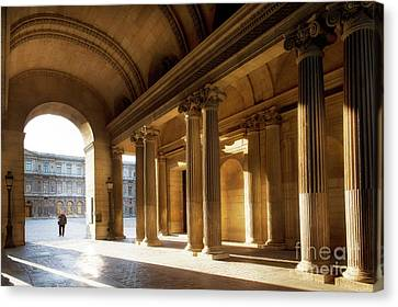 Canvas Print featuring the photograph Morning Lights At The Louvre Museum by Ivy Ho