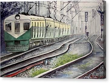 Morning Local Train Canvas Print