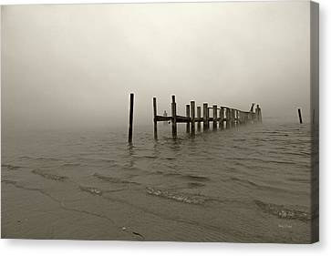 Topsail Island Canvas Print - Morning March Snow Sepia by Betsy Knapp
