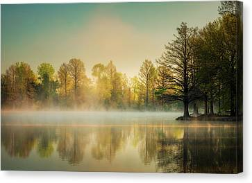 Canvas Print featuring the photograph Morning Mist At Honor Heights  by James Barber