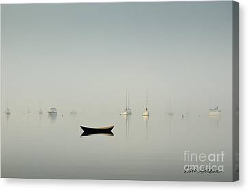 Morning Mist Bristol Harbor Canvas Print by David Gordon