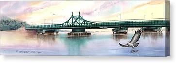 Morning Mist City Island Bridge Canvas Print by Marguerite Chadwick-Juner