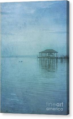 Canvas Print featuring the digital art Morning Mist In Blue by Randy Steele
