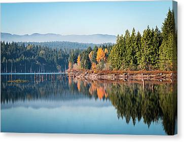 Morning Mist On Distant Mountains Canvas Print