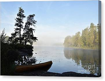 Morning Mist On The Kawishiwi River Canvas Print by Larry Ricker