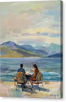 Morning Near Ohrid Lake Figurative Composition Painting  Canvas Print