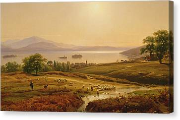 Morning On Lake Maggiore Canvas Print by Thomas Worthington Whittredge