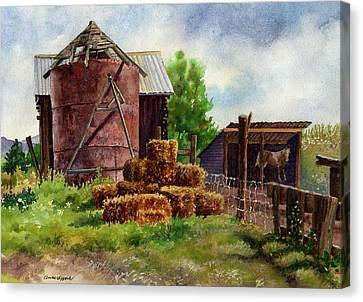 Canvas Print featuring the painting Morning On The Farm by Anne Gifford