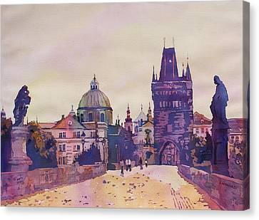 Morning On The St. Charles Bridge Canvas Print by Jenny Armitage