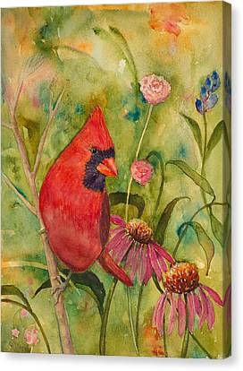 Morning Perch In Red Canvas Print by Renee Chastant