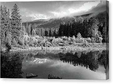 Morning Reflections - Black And White - Colorado Landscape Canvas Print