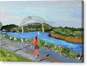 Morning Run Canvas Print by Michael Helfen