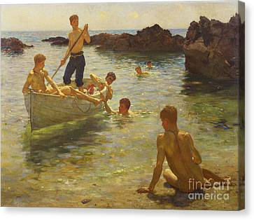 Swimmers Canvas Print - Morning Splendour by Henry Scott Tuke
