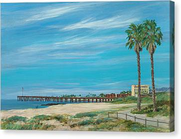 Morning Stroll At The Ventura Pier Canvas Print by Tina Obrien