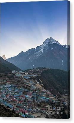 Canvas Print featuring the photograph Morning Sunrays Namche by Mike Reid