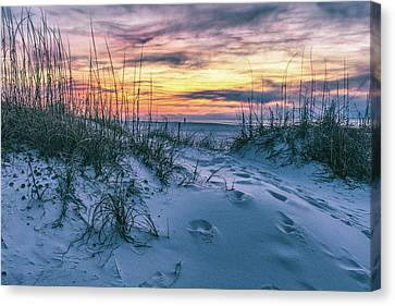 Canvas Print featuring the photograph Morning Sunrise At The Beach by John McGraw