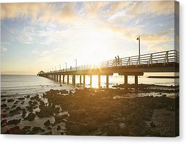 Morning Sunshine At The Pier  Canvas Print