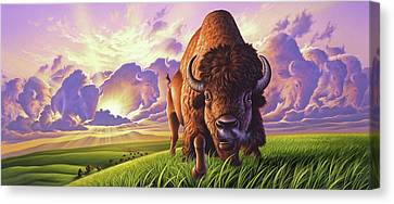 Buffalo Canvas Print - Morning Thunder by Jerry LoFaro