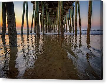 Canvas Print featuring the photograph Morning Under The Pier, Old Orchard Beach by Rick Berk