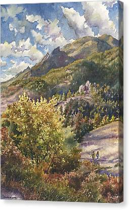 Canvas Print featuring the painting Morning Walk At Mount Sanitas by Anne Gifford